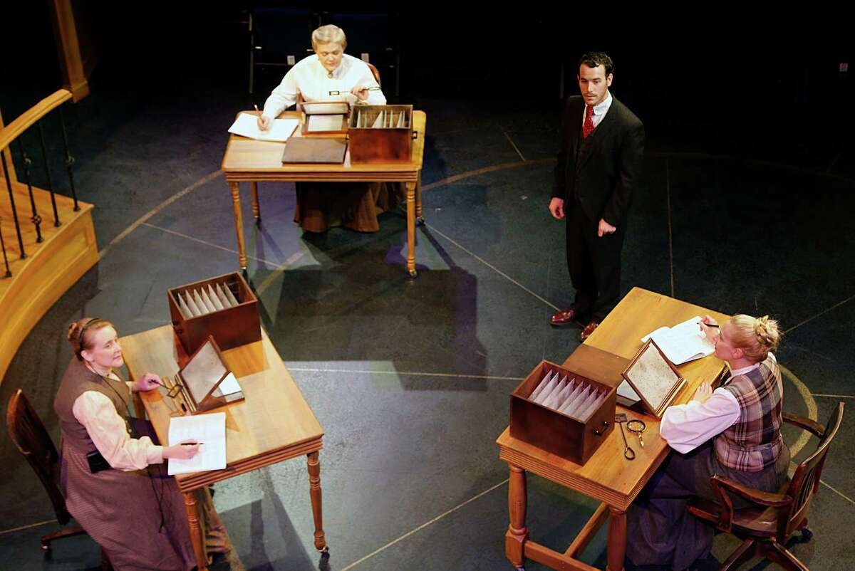 """Shannon Emerick left, as """"Henrietta Leavitt"""", Claire Hart-Palumbo 2nd from left, as """"Williamina Fleming"""", James Monaghan 2nd from right, as """"Peter Shaw"""", and Elizabeth Marshall Black right, as """"Annie Cannon"""" during Main Street Theater's production of the play Silent Sky"""