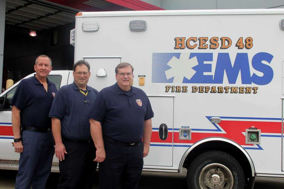 Harris County Emergency Service District 48 staff includes Assistant Chief Tommy Westall, left,  Emergency Services Assistant Chief  Eric Bank and Fire Chief Jeff Hevey. Photo: Suzanne Rehak, Freelance Photographer