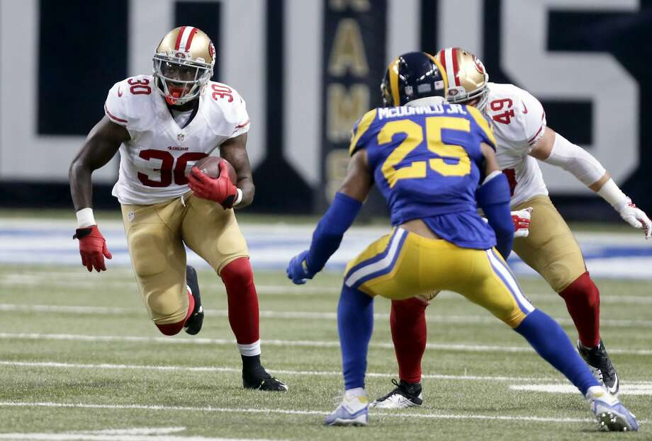 San Francisco 49ers running back Kendall Gaskins runs with the ball during the fourth quarter of an NFL football game against the St. Louis Rams Sunday, Nov. 1, 2015, in St. Louis. (AP Photo/Tom Gannam) Photo: Tom Gannam, Associated Press