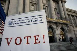 A polling place is set up in the basement of City Hall, during election day in San Francisco , Calif. on Tues. November 3, 2015.