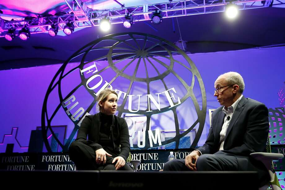 Theranos founder and CEO Elizabeth Holmes (left) speaks with Fortune Editor Alan Murray at the Fortune Global Forum in San Francisco, California, on Monday, Nov. 2, 2015. Photo: Connor Radnovich, The Chronicle