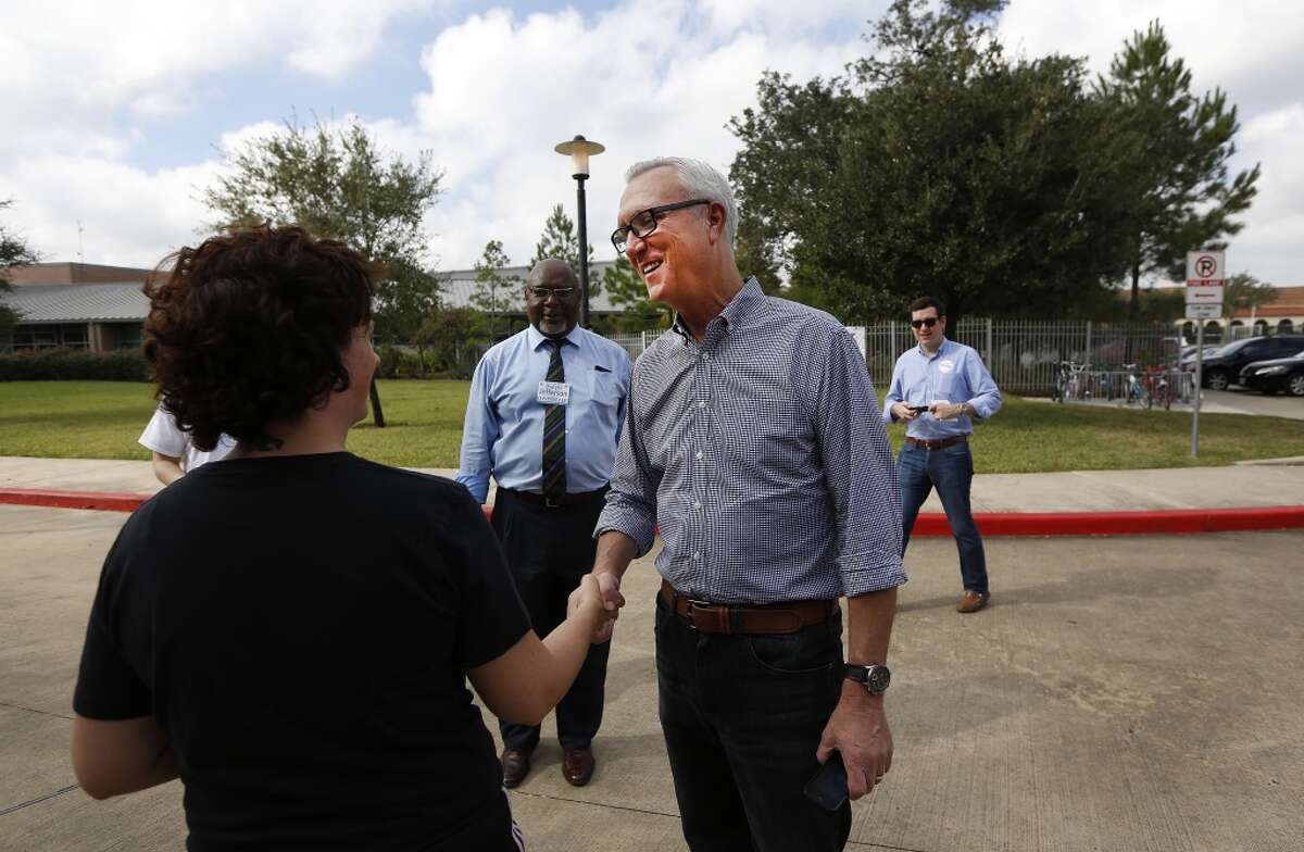 Ex-Congressman Chris Bell shakes someone's hand as he launches his mayoral campaign in 2015. Bell this week said he was considering running against U.S. Sen. John Cornyn.