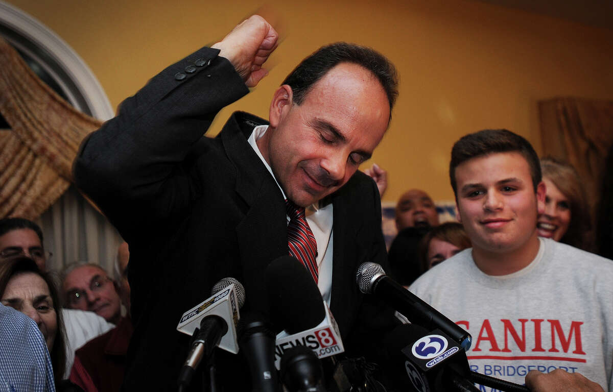 Joseph Ganim celebrates after winning the election as Bridgeport's new mayor at Testo's Restaurant in Bridgeport, Conn. on Tuesday, November 3, 2015.