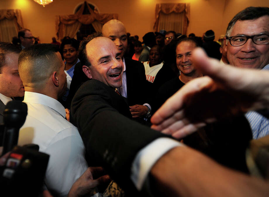 Joseph Ganim celebrates after winning the election as Bridgeport's new mayor at Testo's Restaurant in Bridgeport, Conn. on Tuesday, November 3, 2015. Photo: Brian A. Pounds, Hearst Connecticut Media / Connecticut Post