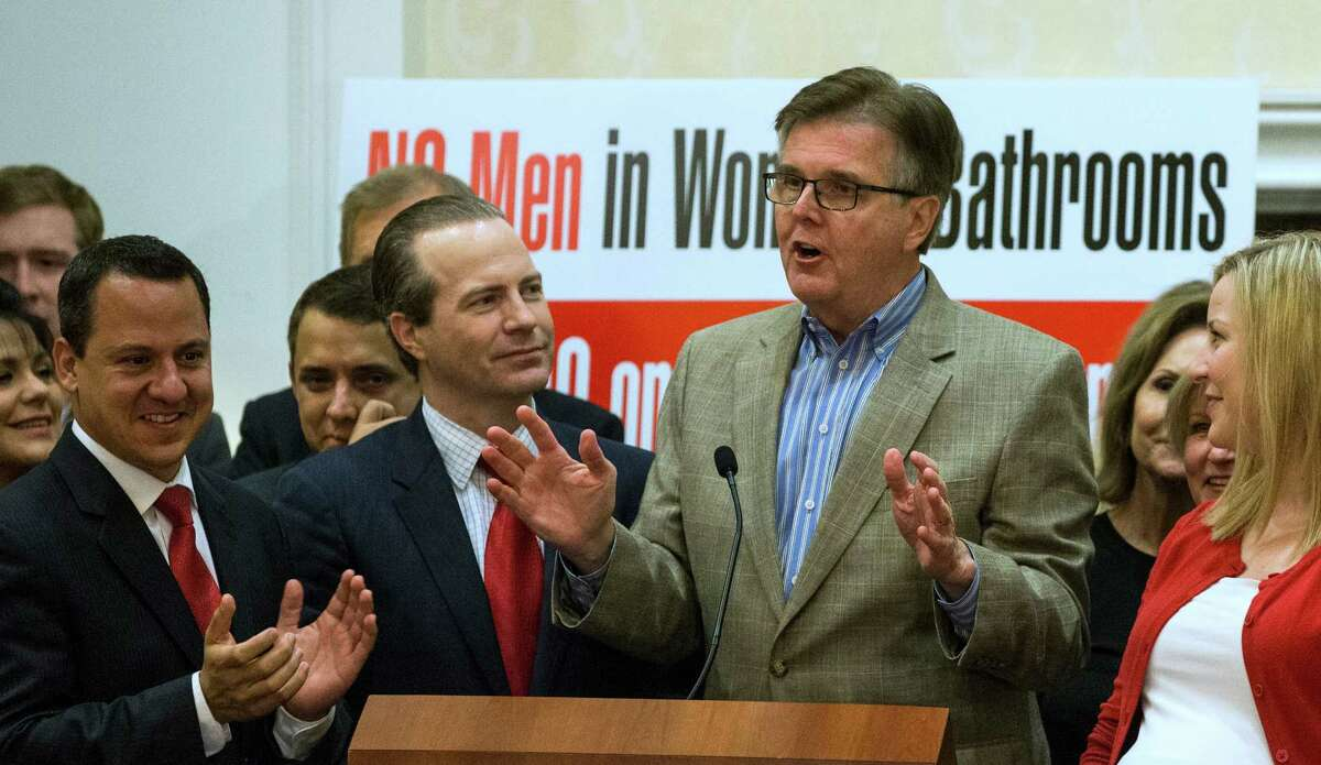 Lt. Gov. Dan Patrick speaks to opponents of Proposition #1, or HERO, after it was voted down on Tuesday, Nov. 3, 2015, in Houston.