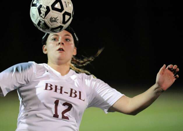 Burnt Hills Krissy Bikowicz gets control of the ball during their Class A girls' regional soccer game against Jamesville-DeWitt on Tuesday Nov. 3, 2015 in Stillwater, N.Y. (Michael P. Farrell/Times Union) Photo: Michael P. Farrell / 00034035A