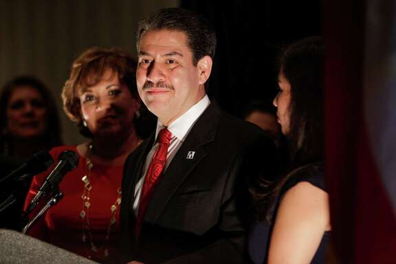 Mayoral candidate Adrian Garcia concedes the race at a watch party at the Crowne Plaza Reliant Tuesday, Nov. 3, 2015, in Houston.