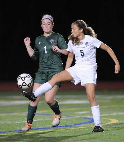 Schalmont's Davia Rossi brings the ball down the field during their Class B girls' regional soccer game against Marcellus on Tuesday Nov. 3, 2015 in Stillwater, N.Y. Shalmont won the contest 2-1. (Michael P. Farrell/Times Union) Photo: Michael P. Farrell / 00034036A