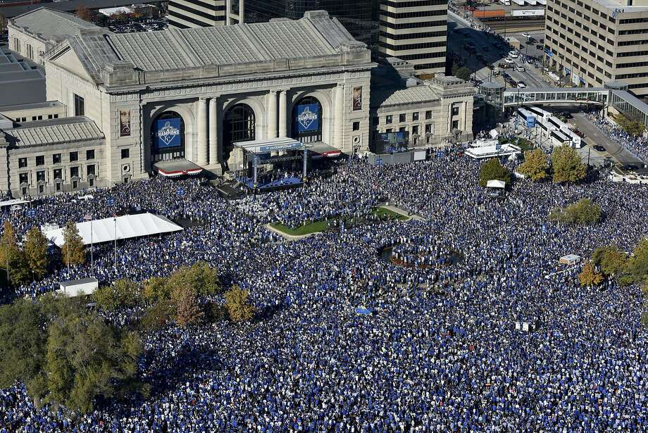 Fans gather for a rally to celebrate the Kansas City Royals winning baseball's World Series at Union Station on Tuesday, Nov. 3, 2015, in Kansas City, Mo. The Royals beat the New York Mets in five games to win the championship. Photo: Reed Hoffmann, Associated Press