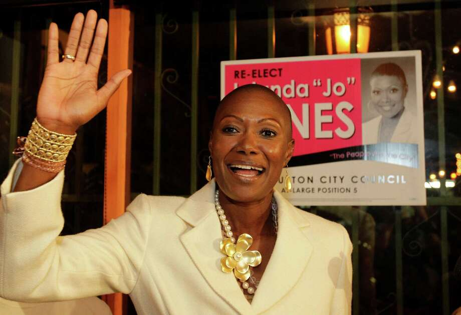 Former City Councilwoman Jolanda Jones waves to her grandmother as she speaks to her supporters and the media during election night in 2011.Take a look at some of the other reality stars from Houston. Photo: Melissa Phillip, Staff / © 2011 Houston Chronicle