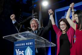 Mayor Ed Lee is joined by his wife Anita and daughter Brianna as supporters gather at Social Hall in San Francisco, Calif. on Tues. November 3, 2015, for San Francisco Mayor Ed Lee during election night, as Lee is re-elected for a second term in office.