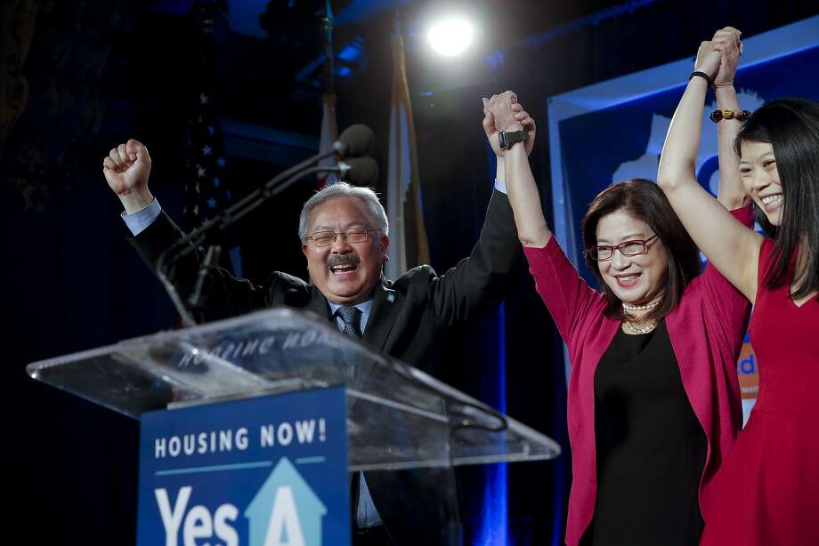 Mayor Ed Lee is joined by his wife Anita and daughter Brianna as supporters gather at Social Hall in San Francisco, Calif. on Tues. November 3, 2015, for San Francisco Mayor Ed Lee during election night, as Lee is re-elected for a second term in office. Photo: Michael Macor, The Chronicle