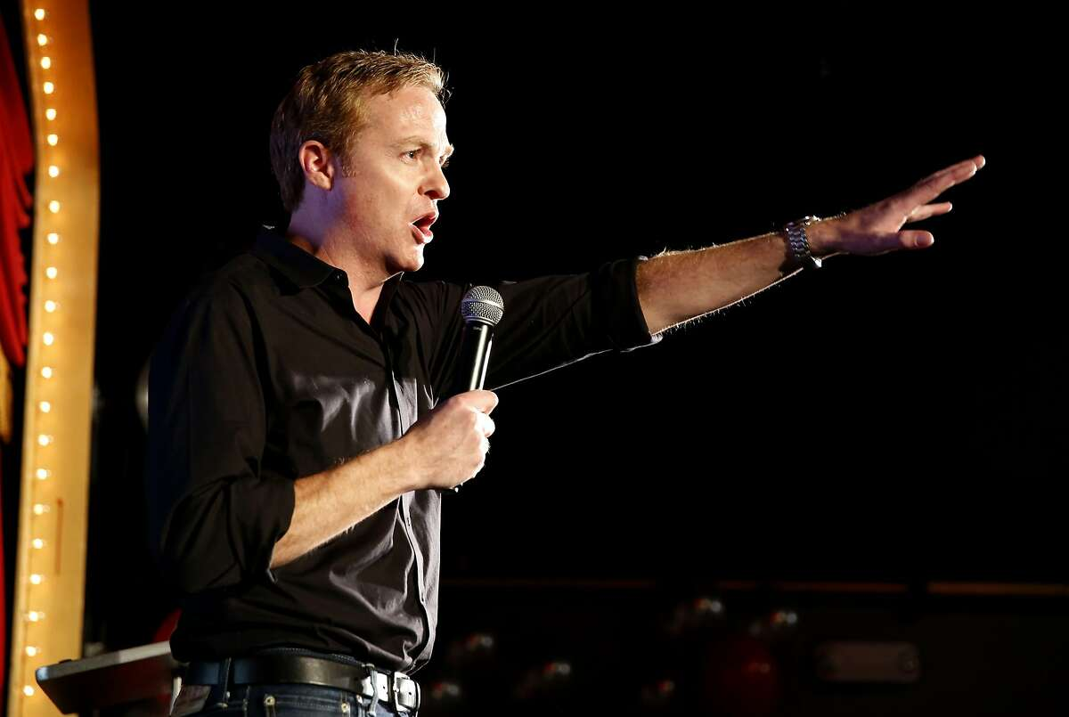 """""""No on F"""" campaign manager Patrick Hannan speaks at an election night party for opponents of Prop F in San Francisco, California, on Tuesday, Nov. 3, 2015."""