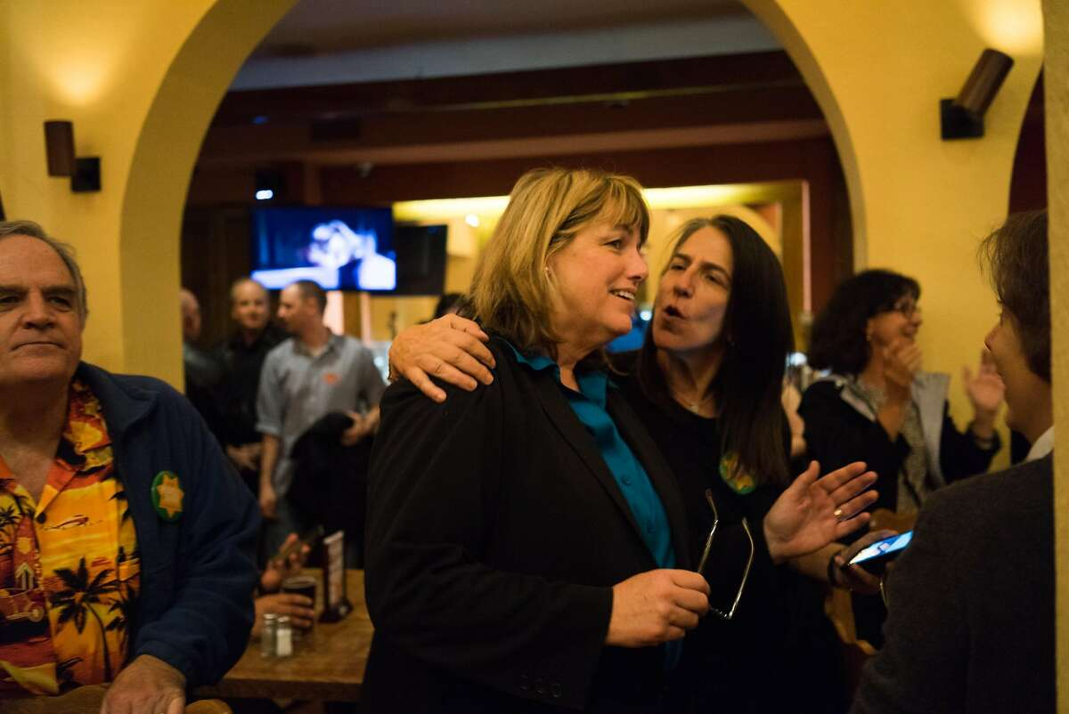 Vicki Hennessy celebrates with supporters at Don Ramon's in San Francisco , Calif. on Tuesday, Nov. 3, 2015. Hennessy defeated Ross Mirkarimi in a race to be San Francisco's Sheriff.