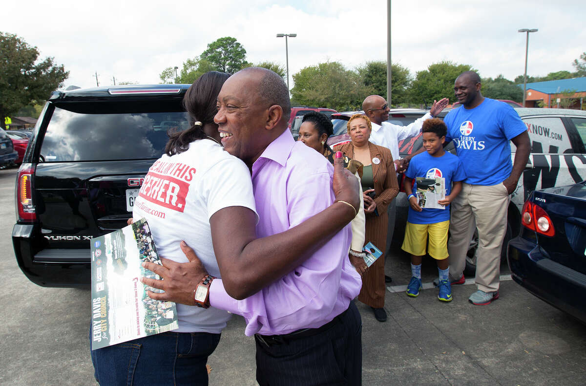 Mayoral candidate Sylvester Turner, right, hugs Brenda Wortham, left, after he arrived at Shadydale Elementary, Tuesday, Nov. 3, 2015, in Houston. (Cody Duty / Houston Chronicle)