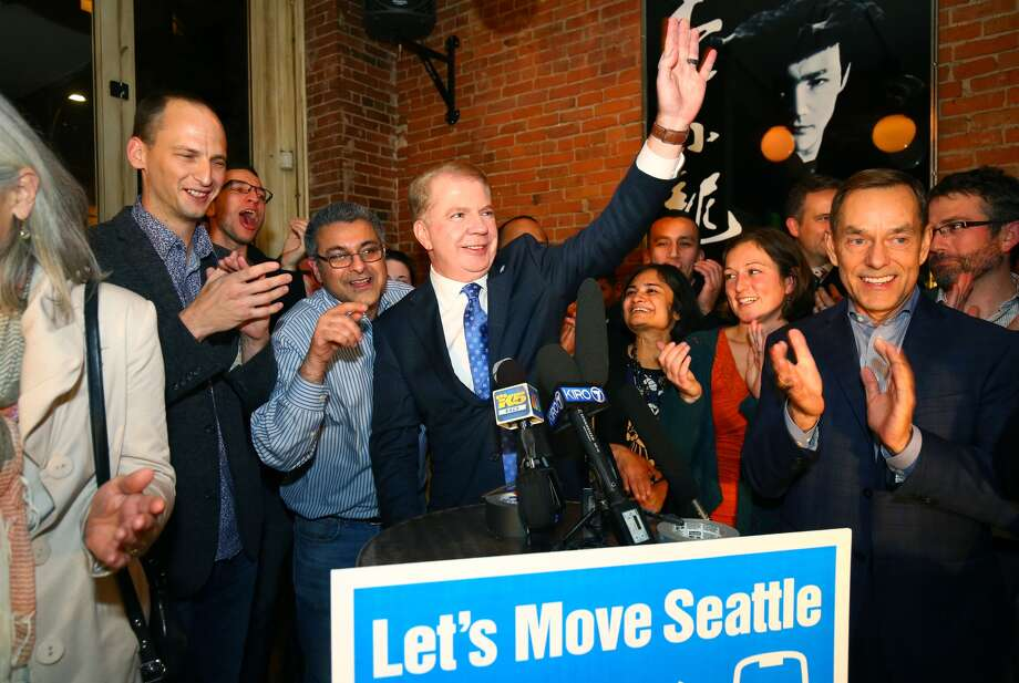 """Mayor Ed Murray celebrates passage of the """"mother of all levies,"""" the $930 million Move Seattle measure, last November. This year, he wants to double the Seattle Housing Levy to $290 million.  Photo: GENNA MARTIN"""
