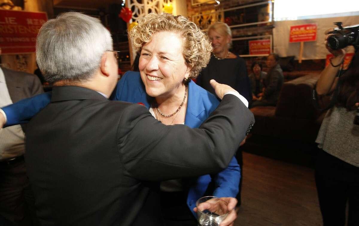 District 3 Supervisor candidate Julie Christensen gets a hug from Mayor Ed Lee on election night in San Francisco on Tuesday, Nov. 3, 2015.
