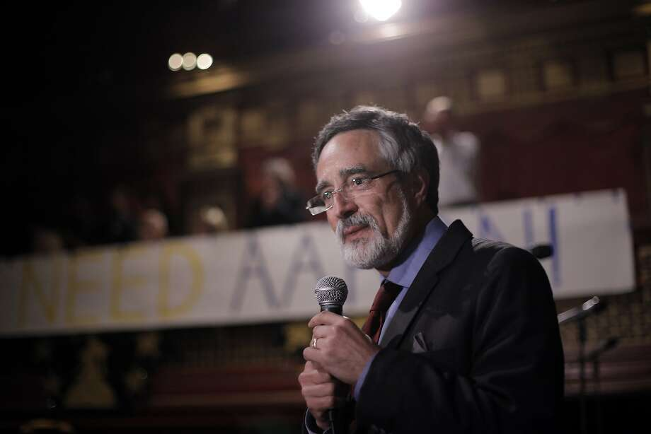 Aaron Peskin speaks to the crowd gathered as results show him in the lead at the election party for Aaron Peskin and his campaign for supervisor of District 3 at Club Fugazzi in North Beach on election day in San Francisco, Calif., on Tuesday, November 3, 2015. Photo: Carlos Avila Gonzalez, The Chronicle
