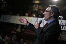 Aaron Peskin speaks to the crowd gathered as results show him in the lead at the election party for Aaron Peskin and his campaign for supervisor of District 3 at Club Fugazzi in North Beach on election day in San Francisco, Calif., on Tuesday, November 3, 2015.