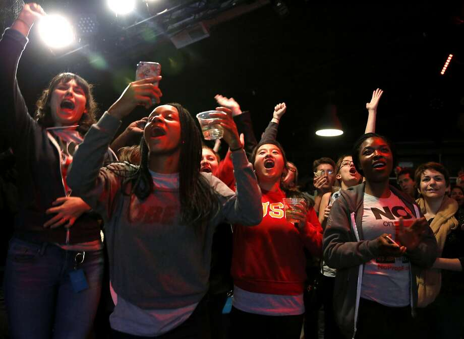 Opponents of Prop F celebrate its defeat during an election night party at Oasis in San Francisco, California, on Tuesday, Nov. 3, 2015. Photo: Connor Radnovich, The Chronicle
