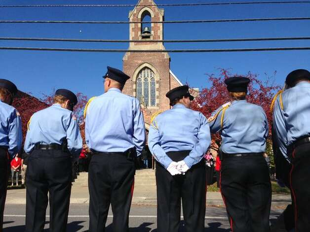 Firefighters  participate Wednesday, Nov. 4, 2015, in the funeral of Robert Prior, past chief of the Coeymans Fire Co., who died last week in a car accident. (Paul Buckowski/Times Union)