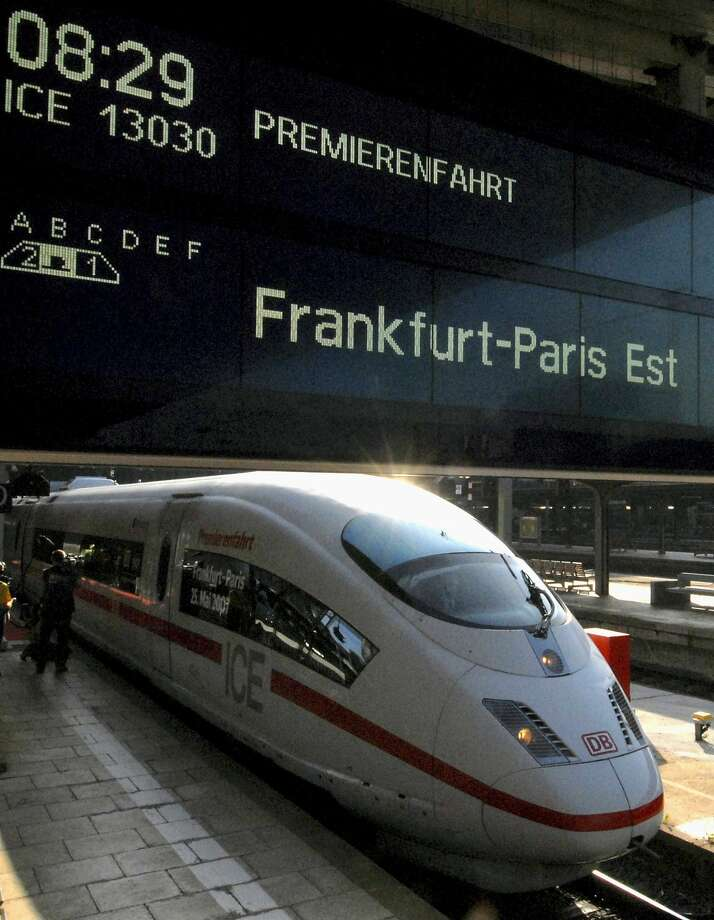 A German Bundesbahn ICE 3 high-speed train leaves the main station in Frankfurt, Germany, for its maiden trip to Paris at 200 miles per hour. Photo: Bernd Kammerer, AP 2007