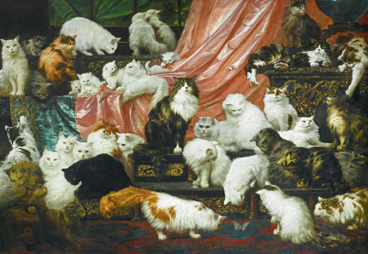 'My Wife's Lovers' by Carl Kahler, an 1893 painting of the cats of San Francisco resident Kate Birdsall Johnson.