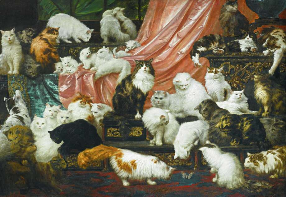 'My Wife's Lovers' by Carl Kahler, an 1893 painting of the cats of San Francisco resident Kate Birdsall Johnson. Photo: Sotheby's, Courtesy