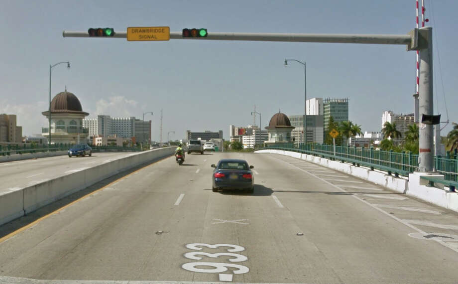 A woman died after the 12th Avenue drawbridge in Miami opened while she was walking across it. Photo: Google Maps