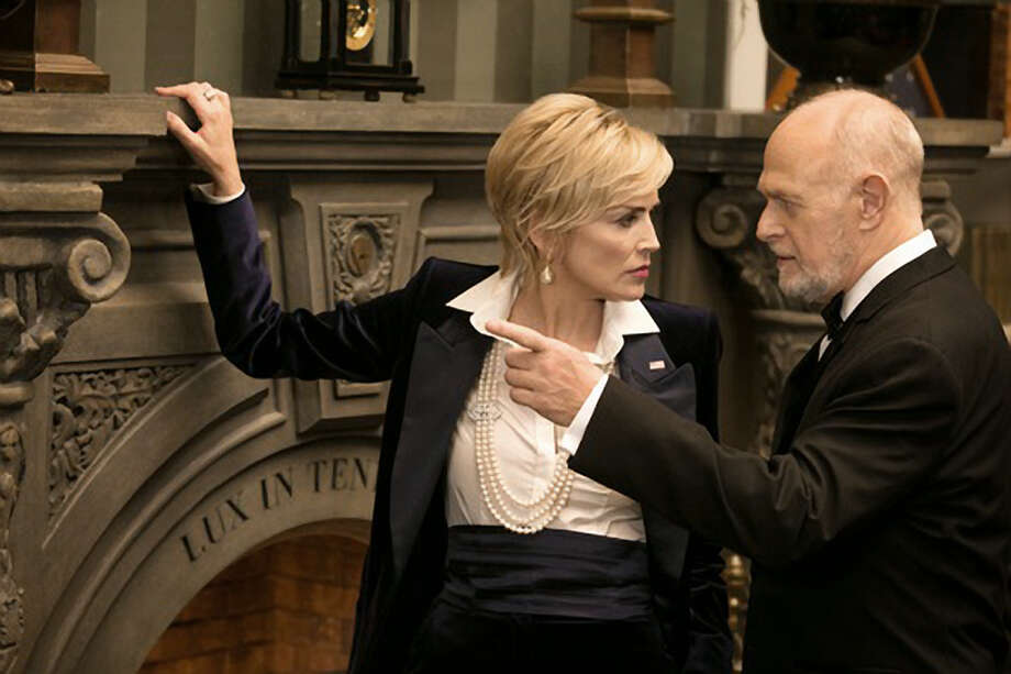 """Sharon Stone plays the vice president in """"Agent X."""" Co-star Gerald McRaney knows where the bodies are buried."""