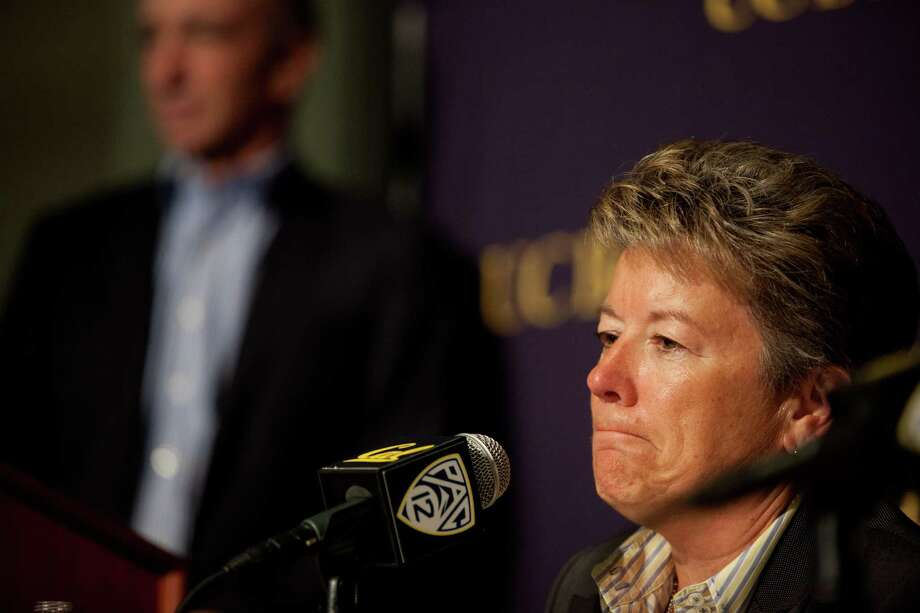Director of Athletics Sandy Barbour attends a press conference to announce her change of position at California Memorial Stadium at the University of California, Berkeley on Friday, June 26, 2014. Photo: TIM HUSSIN / ONLINE_YES