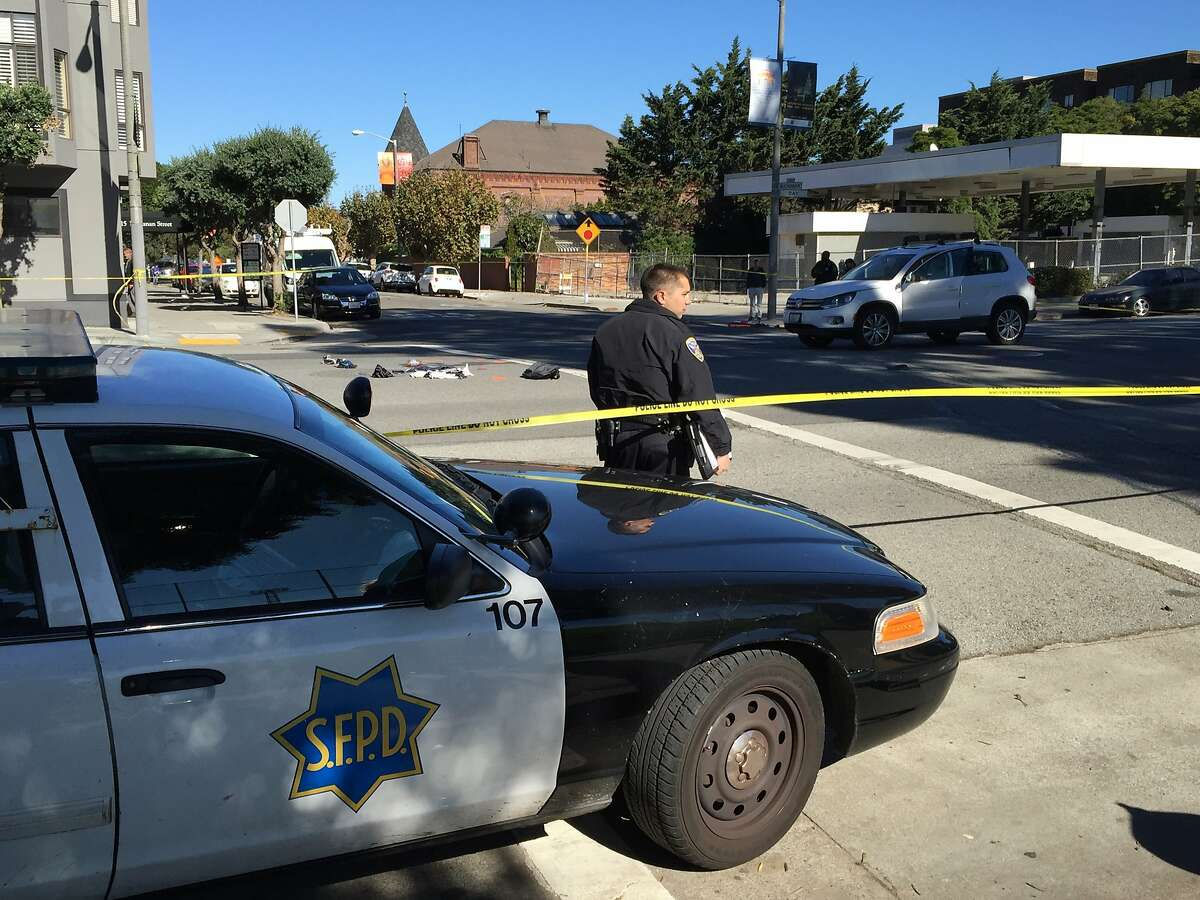 Two 12-year-old boys were struck by a car at Bay and Buchanan streets in San Francisco's Marina district Wednesday morning. The driver of a Volkswagen SUV that struck the boys stayed at the scene and was cooperating with police.