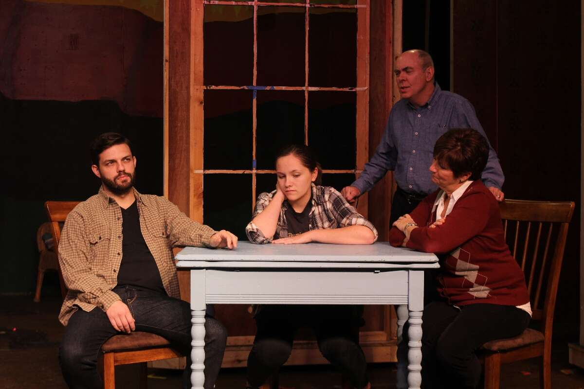 """Wayne (Jimmy Cupp), Patty Ann (Kaeli Heffner), Roy (Rich Angehr) and Irma (Suzanne Baker) in Albany Civic Theater's """"Looking For Normal."""" credit: to Tom Killips"""