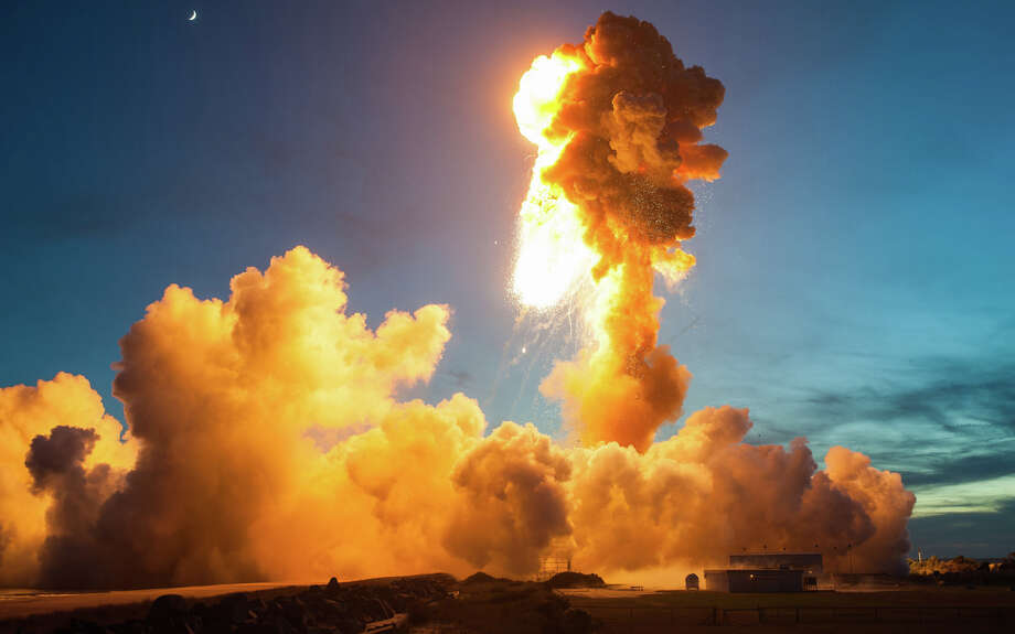 The Orbital Sciences Corporation Antares rocket, with the Cygnus spacecraft onboard suffers a catastrophic anomaly moments after launch from the Mid-Atlantic Regional Spaceport Pad  0A, Tuesday, Oct. 28, 2014, at NASA's Wallops Flight Facility in Virginia. The spacecraft was filled with about 5,000 pounds of supplies slated for the International Space Station, including science experiments, experiment hardware, spare parts and crew provisions. Photo: NASA