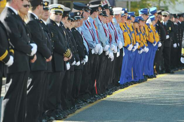 Firefighters from area fire departments gather for the funeral of  Robert Prior on Wednesday, Nov. 4, 2015, in Ravena, N.Y.  Prior was  killed when he was hit by a wrong-way driver on Saturday.  Prior was the current commissioner of the Coeymans Fire District and he was past chief of the Coeymans Fire Company.  (Paul Buckowski / Times Union) Photo: PAUL BUCKOWSKI / 00034075A