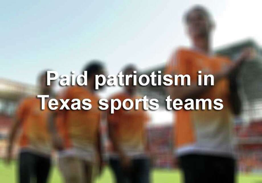 """Paid patriotism"" reaches over $260,000 for one popular Texas sports team. These funds, paid for by defense agencies, buy tickets, ceremonies and other events.Here are the Texas teams that get paid for patriotic showings at games, listed by least to most expensive contracts.The full report is available here. Photo: James Nielsen, File / © 2015  Houston Chronicle"