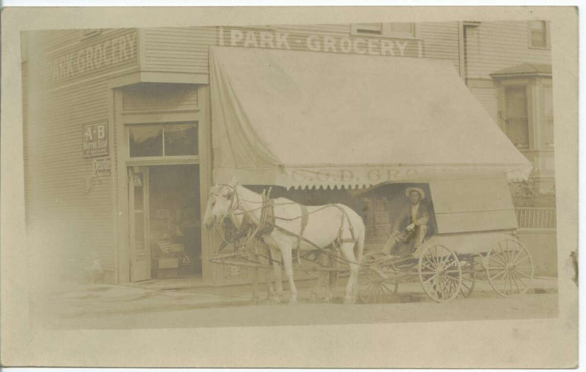 This circa 1903 photo shows a wagon in front of Olaf Weggen and Charlie Homan's store, COD Grocery, at 20th Avenue and 67th Street, just south of where Salmon Bay Park is today. At the time, Marie Simonson was the clerk in the store, according to information provided by the Nordic Heritage Museum. Photo courtesy Nordic Heritage Museum.