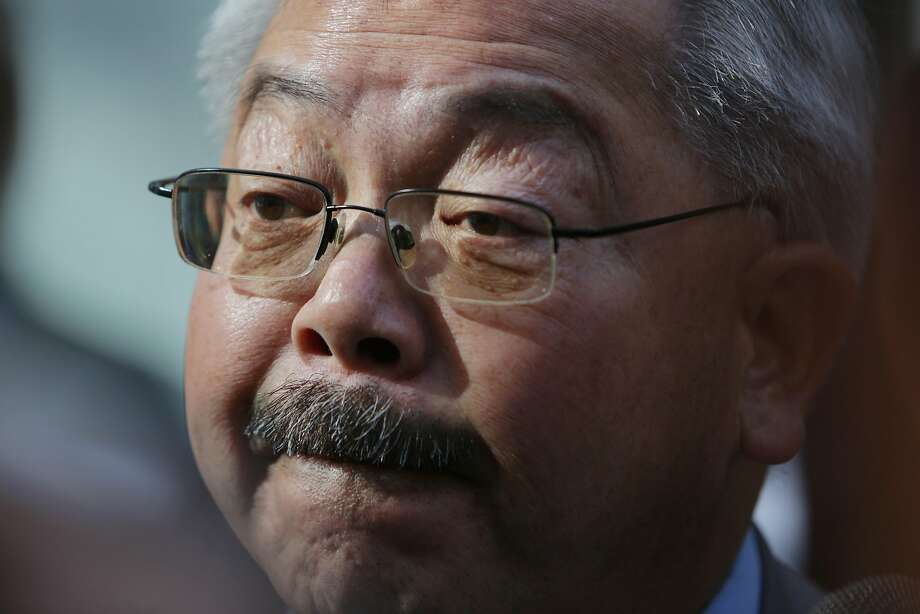 Mayor Ed Lee answers questions from the media during an opening celebration welcoming new residents to 1400 Mission Street on Wednesday, November 4,  2015 in San Francisco, Calif.  1400 Mission is a 190 unit, 15-floor affordable family housing project. Photo: Lea Suzuki, The Chronicle