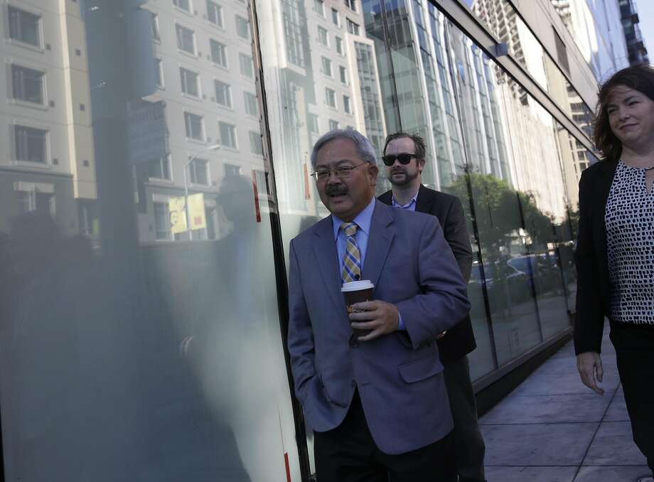 Mayor Ed Lee walks down 10th Street alongside 1400 Mission on his way to an opening celebration welcoming new residents to 1400 Mission Street on Wednesday, November 4,  2015 in San Francisco, Calif. 1400 Mission is a 190 unit, 15-floor affordable family housing project. Photo: Lea Suzuki, The Chronicle