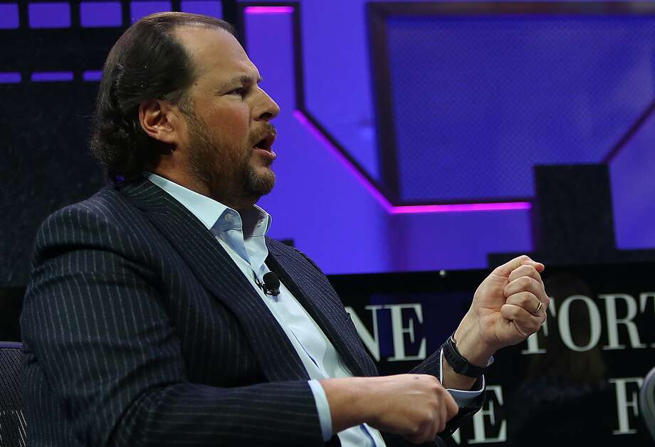 Salesforce CEO Marc Benioff speaks at the Fortune Global Forum conference in San Francisco, Calif., on Tuesday, November 3, 2015. Photo: Liz Hafalia, The Chronicle