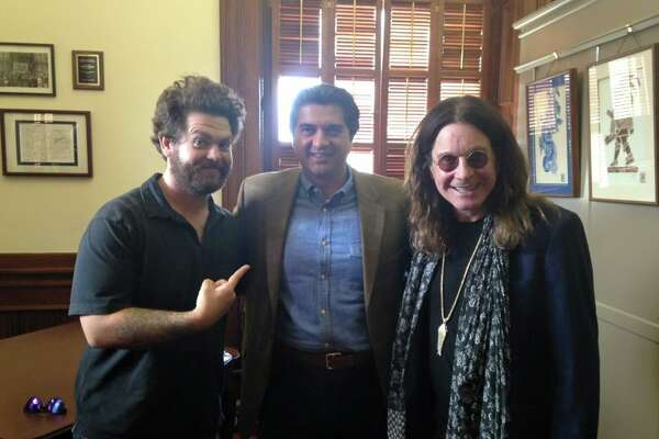 "Said state Rep. Eddie Rodriguez via his Facebook page: ""Had some surprise visitors at the Capitol today. Ozzy and Jack Osbourne are extremely gracious and down to earth. We talked about Texas politics, their upcoming show for the History Channel, and where to get lunch downtown. I also sent them home with a Texas flag."""