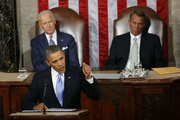 """FILE - In this Jan. 28, 2014, file photo, Vice President Joe Biden and House Speaker John Boehner of Ohio listen as President Barack Obama gives his State of the Union address on Capitol Hill in Washington. In the address, Obama unveiled a new program called """"myRA,"""" for """"my IRA."""" The Treasury Department said Wednesday, Nov. 4, 2015, that the government-backed retirement savings plan myRA is now available nationwide. (AP Photo/Charles Dharapak, File)"""