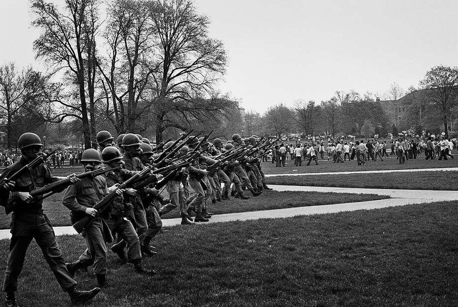 "Ken Light was still a teenager when he took ""National Guard, Cambodian Invasion Riot, Columbus, Ohio, April 30, 1970."" Photo: Ken Light, Handout"