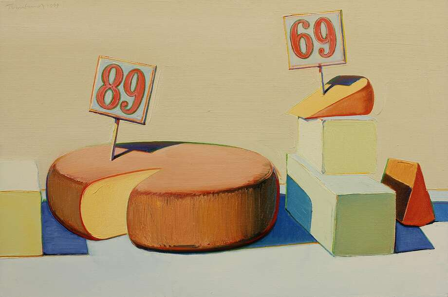 "Wayne Thiebaud, ""Cheese Display,"" 1969, Oil on canvas, 24 by 36 inches. Collection of Wayne Thiebaud. Photo: Berggruen Gallery, Handout"