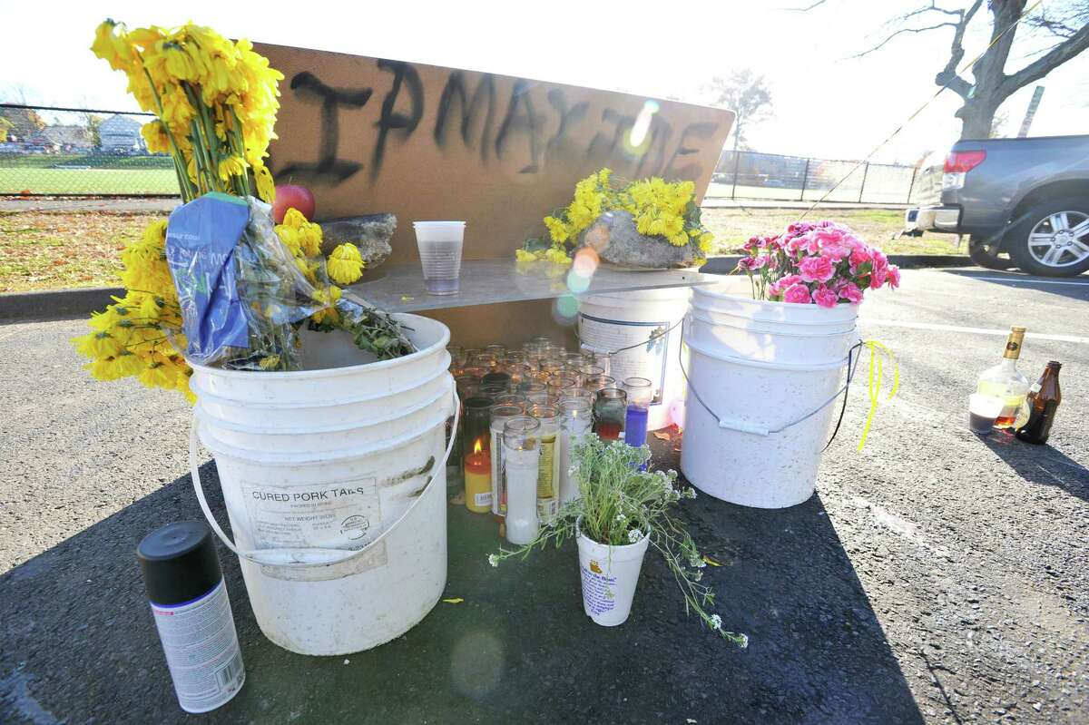 A memorial for Maxine Gooden sits in Lione Park on Wednesday, Nov. 4, 2015. Gooden was shot and killed in the park on Monday, Nov. 2, 2015.