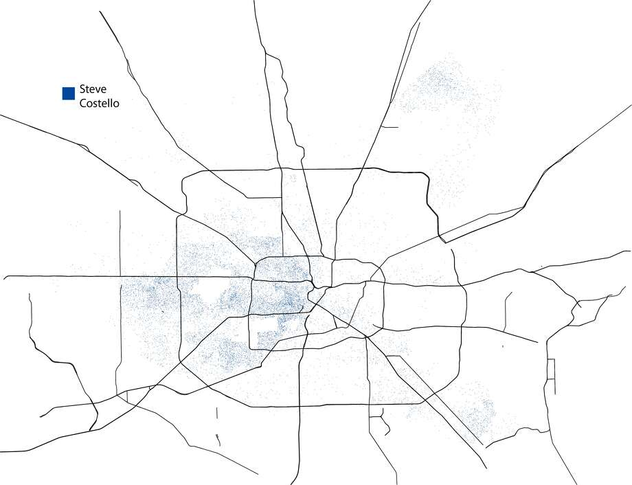 A dot-density map illustrating where mayoral candidate Steve Costello had the greatest or least support in the general election. One dot equals one person and the map was created using the unofficial totals from Tuesday's election. Costello lost the election to Sylvester Turner and Bill King who now head into a runoff election this December. Photo: John D. Harden, Houston Chronicle