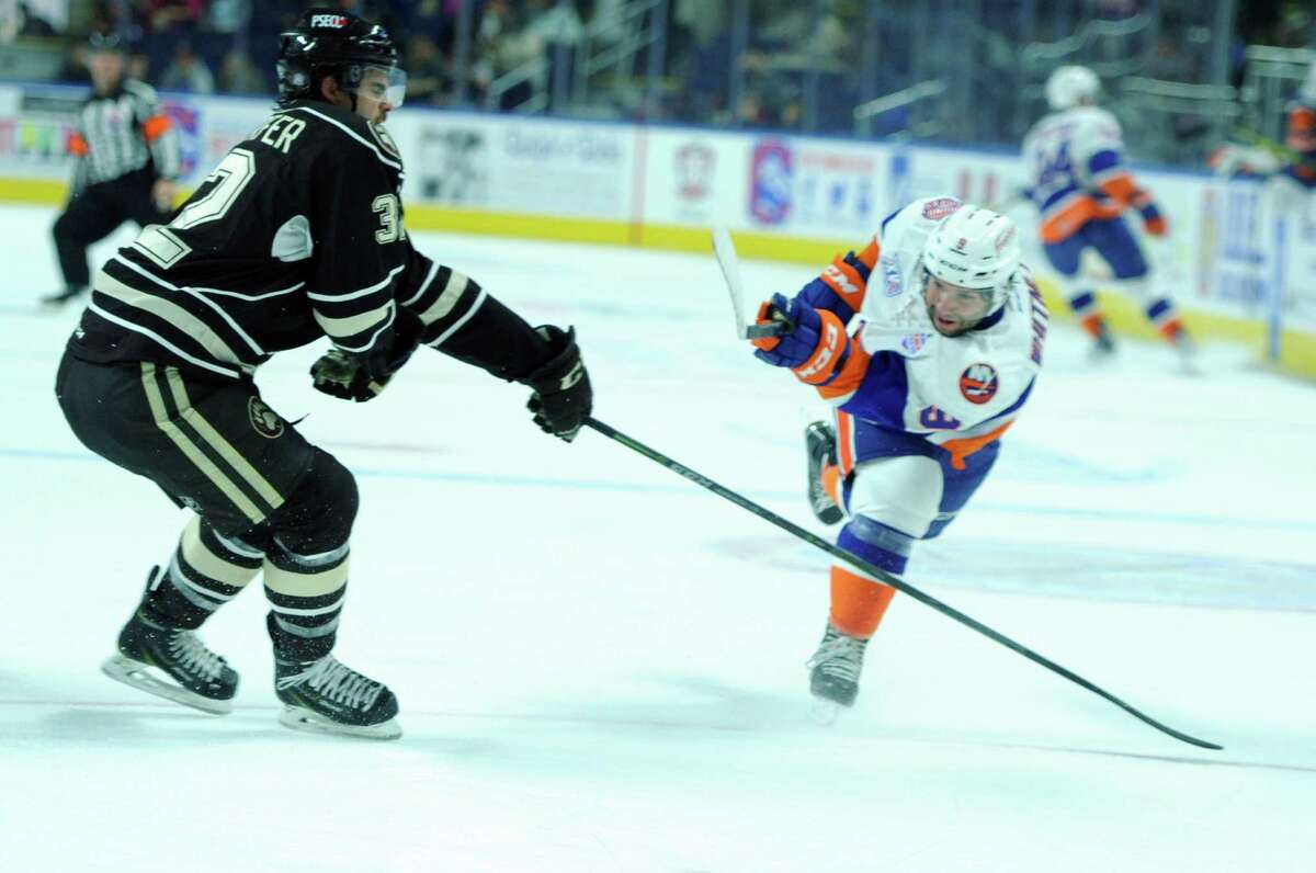 The Bridgeport Sound Tigers take on the Hershey Bears Wednesday, Nov. 4, 2015, at the Webster Bank Arena in Bridgeport, Conn.