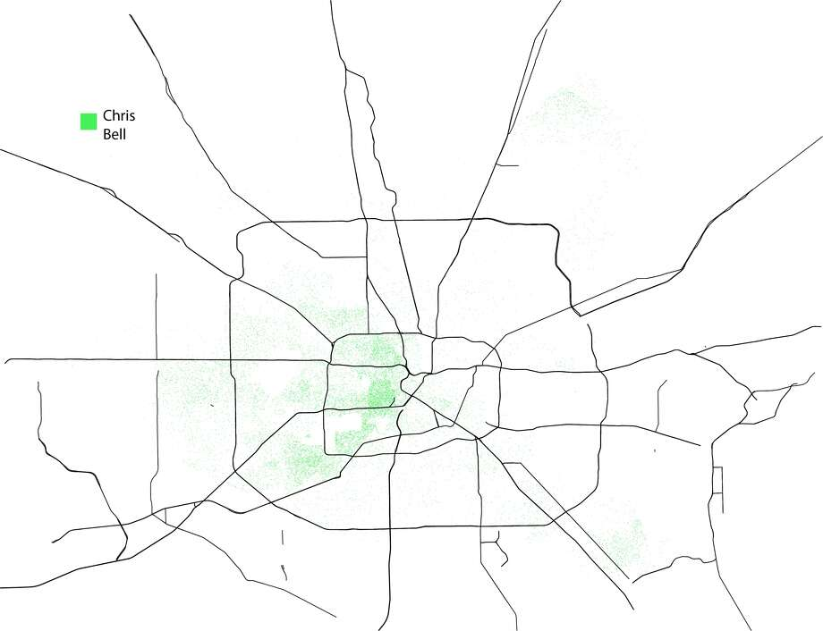 A dot-density map illustrating where mayoral candidate Chris Bell had the greatest or least support in the general election. One dot equals one person and the map was created using the unofficial totals from Tuesday's election. Bell lost the election to Sylvester Turner and Bill King who now head into a runoff election this December. Photo: John D. Harden, Houston Chronicle