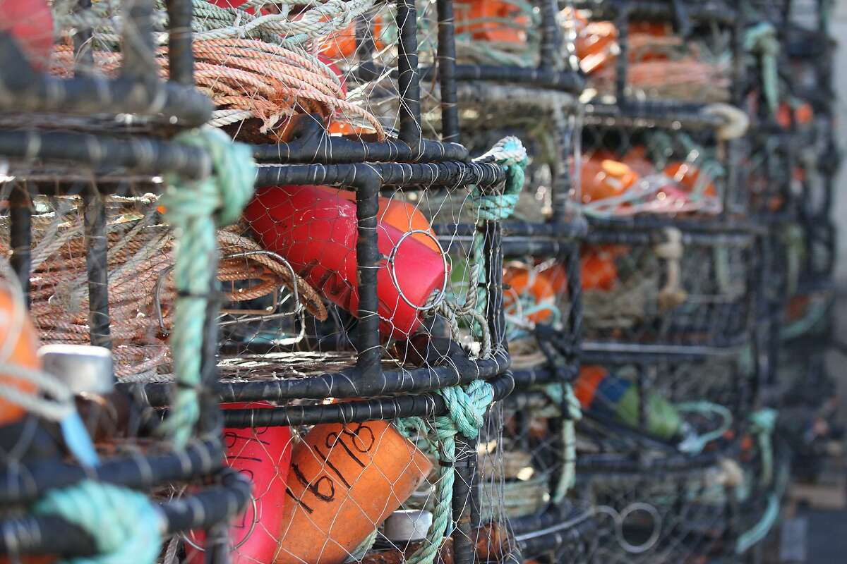 Crab traps sit on Pier 45 at Fisherman's Wharf in San Francisco, California on Wednesday, November 4, 2015.