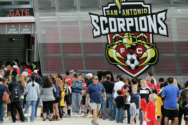 Fans line up early to get in the stadium as the San Antonio Scorpions open in their new stadium, Toyota Field against Tampa Bay on April 13, 2013.